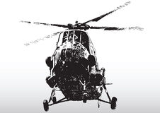 Helicopter in flight. Illustration of modern helicopter in flight with white background Stock Photo