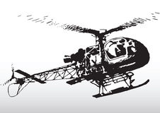 Helicopter in flight. Illustration of modern light helicopter in flight with white background Stock Photos