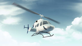 Helicopter flight in blue clouds sky Stock Photos