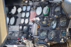 Helicopter flight control and instrument background. In cockpit Royalty Free Stock Photo
