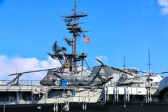 Helicopter on Flight Deck of Aircraft Carrier Royalty Free Stock Images