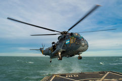 Helicopter on flight deck Royalty Free Stock Images