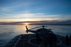 Helicopter on flight deck Royalty Free Stock Photo
