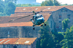 Helicopter in flight Stock Image