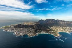 Helicopter flight over Capetown stock photo
