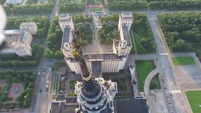 MSU Moscow State University. Top view. Close approach to star. Moscow city center and Luzhniki stadium at background. stock footage