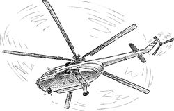 Helicopter in the flight. Vector drawing of a helicopter in the sky royalty free stock photo
