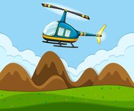 A helicopter flying above the ground vector illustration