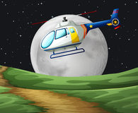 Helicopter flying on the fullmoon night Royalty Free Stock Photo