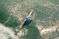 Helicopter Flying Low Stock Photo