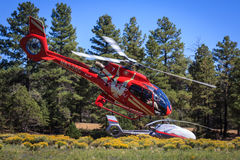 Helicopter flying low Stock Photography