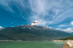 Helicopter flying out from Alaska Royalty Free Stock Photo