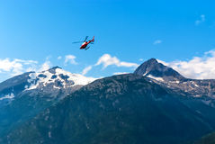 Helicopter flying out from Alaska Stock Image