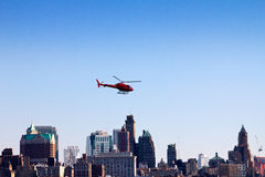 Helicopter Flying Over Brooklyn Royalty Free Stock Image