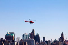 Helicopter Flying Over Brooklyn New York stock image