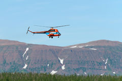 Helicopter flying over the forest Stock Image