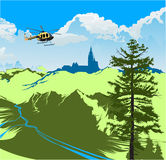 Helicopter flying over the green valley Stock Photography