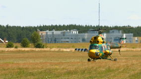 Helicopter flying in the sky stock video footage