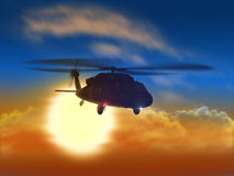Helicopter flying from sun Stock Photos