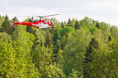 Helicopter in forest Royalty Free Stock Image