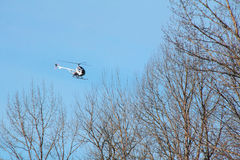 Helicopter and Forest Stock Images