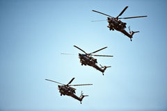 Helicopter formation, May 9th Victory Parade, Moscow, Russia Royalty Free Stock Photos