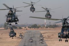 Helicopter formo take-off. Military Transport Royalty Free Stock Image