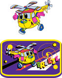 Helicopter, fun toys, cartoons. Cheerful little helicopter, image for children Royalty Free Stock Image
