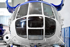 Helicopter fuselage detail in factory Stock Image