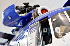 Helicopter fuselage detail. Detail with helicopter fuselage on the repair line in a factory Royalty Free Stock Photography