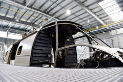 Helicopter fuselage in a factory Royalty Free Stock Photography