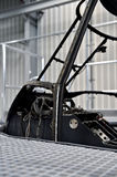 Helicopter fuselage in a factory. Detail with helicopter fuselage on the repair line in a factory Stock Photos