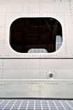 Helicopter fuselage in a factory. Detail with helicopter fuselage on the repair line in a factory Royalty Free Stock Photography