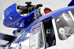 Helicopter fuselage and pilot cockpit. Detail with helicopter fuselage and pilot cockpit Stock Photo