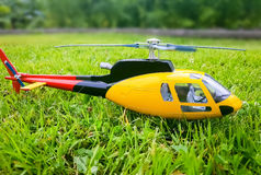 Model helicopter on the grass Royalty Free Stock Photos