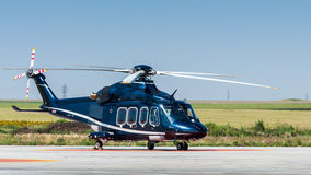 Helicopter on ground copy space Royalty Free Stock Image