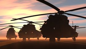 The helicopter. A group of military helicopters Stock Photography
