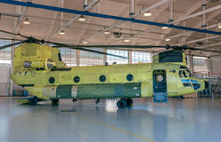 Helicopter in hangar. Chinook helicopter parked  in hangar Royalty Free Stock Images
