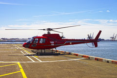 Helicopter on the helipad in Lower Manhattan in New York Royalty Free Stock Images
