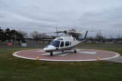 Helicopter On Helipad With Medic Sign stock image
