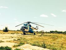 Helicopter on the helipad Stock Photography