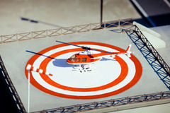 Helicopter on heliport Stock Photo