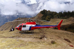 Helicopter in the Himalayas Royalty Free Stock Image