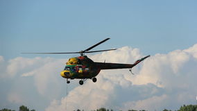Helicopter hovered over the woods, rescue operation, search operation, air show stock video