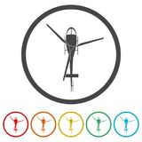 Helicopter icon, Black silhouette of helicopter, 6 Colors Included. Simple  icons set Royalty Free Stock Photo