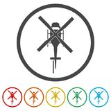 Helicopter icon, Black silhouette of helicopter, 6 Colors Included. Simple vector icons set Royalty Free Stock Photos