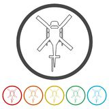 Helicopter icon, Black silhouette of helicopter, 6 Colors Included. Simple vector icons set Royalty Free Stock Photo