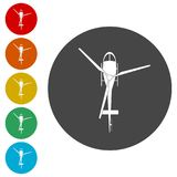 Helicopter icon, Black silhouette of helicopter. Simple  icons set Royalty Free Stock Photos