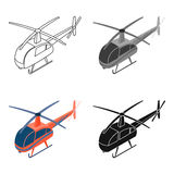 Helicopter icon in cartoon style isolated on white background. Transportation symbol stock vector illustration. Stock Image