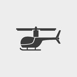 Helicopter icon in a flat design in black color. Vector illustration eps10 Royalty Free Stock Image